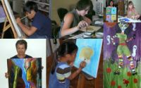 some painting students and their work